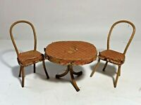 Very Old Vintage Patio / Kitchen Set Dollhouse Furniture Rattan 2 Chairs & Table