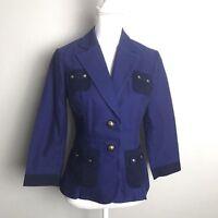 CAbi Blue Berry Resort 2 Button 3/4 Sleeve Blazer Jacket Nautical #900 Women's 4