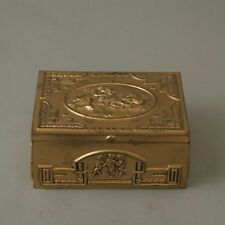 Vtg German Brass Art Deco Cigarette Box Case Holder Wood Lined Cherub Repousse