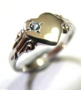 Genuine Solid 9ct White Gold Heart Aquamarine Set Signet Ring March Birthstone