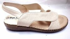 SIZE 5 BEIGE NEW LADIES SANDALS WEDGE SHOES BY SHOE TREE ELASTICATED SIDE  18702