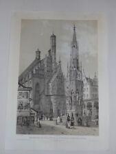 Nürnberg Bayern Franken Frauenkirche Schöner Brunnen Chapuy Lithographie 1844