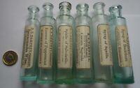 6  ANTIQUE DIFFERENT LABELED CHEMIST MEDICINE  CURE PHIALS DAMPNEY KENSINGTON
