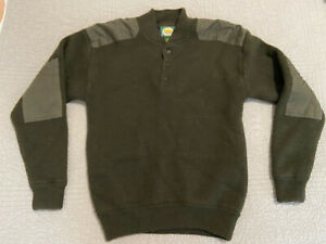 Cabelas Mens Wool Sweater Elbow Patches Wind Shear Hunting Brown Sz M Henley