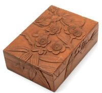 Japanese Document Box Wood Natural Cherry Blossoms Pine Bamboo Lacquer Antique