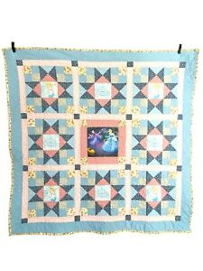 """Vintage Childs Small Quilt Lap or Crib Size Disney Cinderella Panels 44"""" by 44"""""""