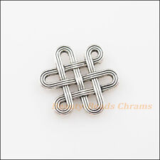 10Pcs Tibetan Silver Tone Chinese Knot Charms Pendants Connectors 14x16mm