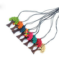 Bohemia Ethnic Tree Of Life Pendant Rainbow Wooden Handmade Beads Long Necklaces