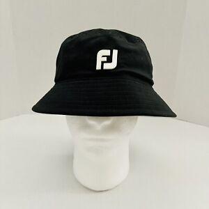 Perfect FootJoy FJ DryJoys Bucket Hat Cap Black Size Large EUC