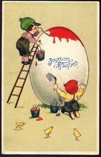 Children with Giant Easter Egg. Pre-1914 Vintage Art Postcard. Free UK Post