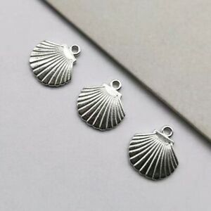 12 x Shell Charms Antique SILVER Tone Double Sided 13x12mm Crafts Findings