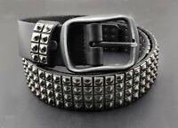 Men's Punk Rock Biker Metal Studded Revit Genuine Cowhide Leather Belt