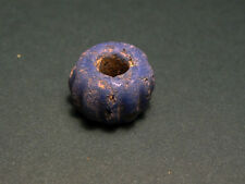 ANCIENT GLASS BEAD RIBBED DESIGN  OPAQUE BLUE - ROMAN 100-300 AD