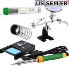 60W Soldering Iron Tool Kit w/ Helping Hands Solder Holder Stand, 12.5g Solder