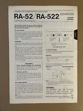 More details for kenwood ra-52 ra-522 stereo reverberation amplifier instruction manual