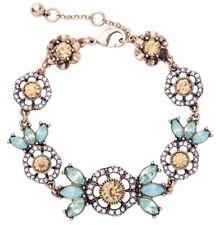 PERIDOT GREEN BLUE CITRINE TOPAZ Chunky Gold Crystal Rhinestone Flower Bracelet