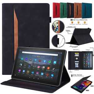 Leather Wallet Card Smart Case For Amazon Kindle Fire HD 10 Plus 2021 HD 8 2020