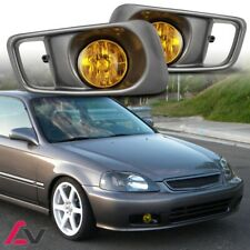 99-00 For Honda Civic Yellow Lens Pair Bumper Fog Light Lamp+Wiring+Switch Kit