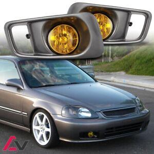 99-00 For Honda Civic Yellow Lens Pair Bumper Fog Light Lamp+Wiring+Switch Kit