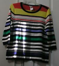 TALBOTS STRIPED SWEATER KNIT TOP, SIZE 1X (18/20), 100% COTTON