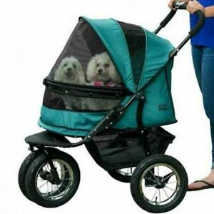Pet Gear NO-ZIP Double Stroller, Zipperless Entry, for Single Pine Green