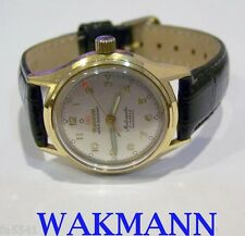 Vintage Gold Color WAKMANN Automatic Militery Watch c.1940s* Good Cond* SERVICED