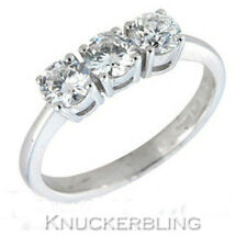 Diamond Three Stone Trilogy Ring 0.80ct Brilliant Cut F VS 18ct White Gold