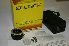 1.7X TELECONVERTER EXTENDER LENS for PENTAX A110 110 CAMERA & CASE  SOLIGOR