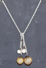 "Vintage 1960's White Enameled with 4 Wood Dangling Balls 50"" Belt Or Necklace"