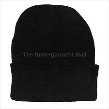 Mens Womens Beanie Hat Plain Black Knit Warm Winter Ski Unisex Solid Skull New