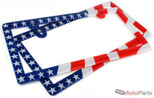 2 American USA Flag License Plate Plastic Frames for Auto-Car-Truck red/blue