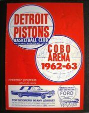 DETROIT PISTONS Autographed 1962-63 Basketball Program ~ (13) Signatures