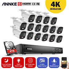 Annke 4Mp Color Day Night Cctv Ip67 Security PoE Camera System 100ft Warm Light