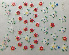 Accessoire ongles : nail art - Stickers autocollants - fleurs rouges et blanches