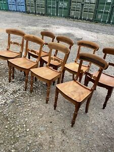 Set Of Antique Pine Dining Chairs X 8
