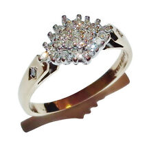 9ct Yellow Gold & Diamond Fancy Cluster Ring - UK Size: K