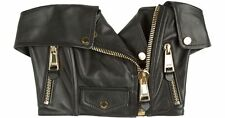 $3995 MOSCHINO Jeremy Scott Black Nappa Leather Bustier Top Gold Hardware RARE