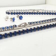 White gold finish blue sapphire tennis necklace bracelet earrings set gift boxed