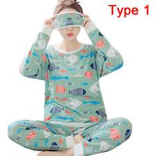 Women Cotton Pajamas Pajama Sets Cartoon Sleepwear Pajamas Long Sleeve R 3 L