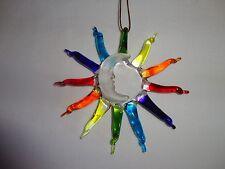 Hanging Rainbow Sun and Moon Figurine of Blown Glass Crystal