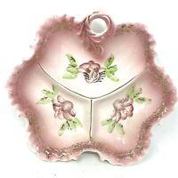 Vintage Japan Pink Hand Painted Floral Porcelain Divided Serving Bowl Ruffled
