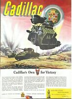 1943 Cadillac Automobile Vintage Print Ad WWII Tank Own For Victory