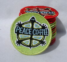 "Peace Coffee Turtle Green Emblem Applique Embroidered Iron On Patch 2.75"" Round"