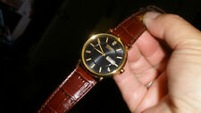 citizen eco drive mens watch day date navy blue dial clean leather band nice!!!
