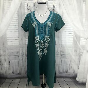 Johnny Was Medium Boho Tunic Dress Green Linen Embroidered Flowers Floral FLAWS