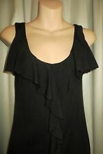 VINTAGE Style ~ Black ~ Frill Front ~ TOP/DRESS * Size XS * SALE !!