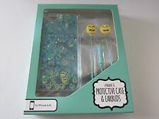 Gabba Goods Emoji Glitter Protective Case & Earbuds iPhone 6/6s Clear/Aqua Blue