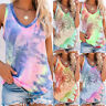 Womens Holiday Blouse Ladies Tee CAMI Tank Vest Casual Shirt Tie-Dye Basic Tops