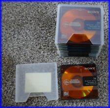 Lot of 10 Sony Premium Shock Absorbing Color MiniDiscs W/Slip Cases 74 Min