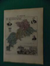 HAUTE GARONNE CARTE ATLAS MIGEON Edition 1885, Carte + fiche descriptive